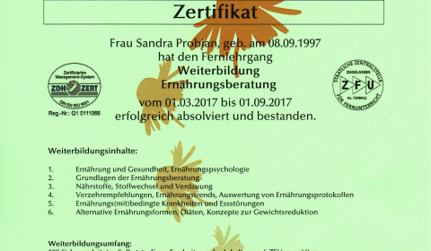 Zertifikat Weiterbildung Ernährungsberatung