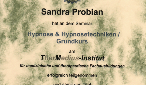 Zertifikat Grundausbildung Hypnose