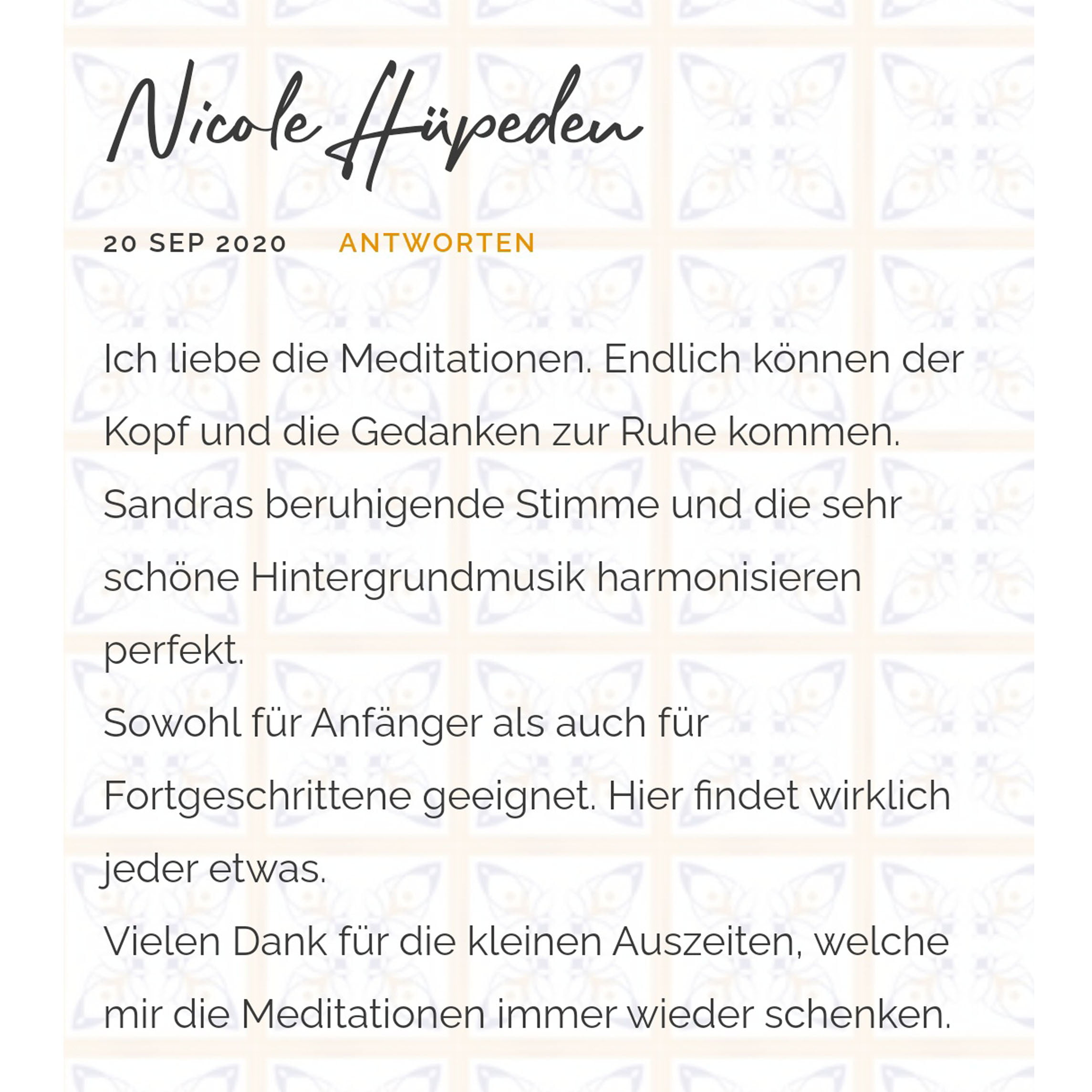 Erfahrung Meditationen